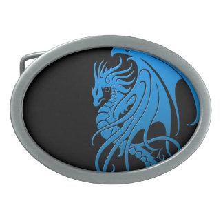 Flying Tribal Dragon - blue on black Oval Belt Buckle
