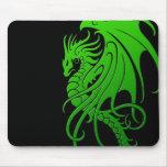 Flying Tribal Dragon - green on black