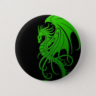 Flying Tribal Dragon - green on black 6 Cm Round Badge