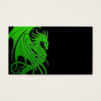 Flying Tribal Dragon - green on black Business Card
