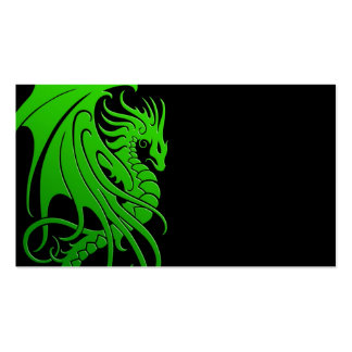 Flying Tribal Dragon - green on black Pack Of Standard Business Cards