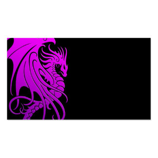 Flying Tribal Dragon - purple on black Business Card Templates