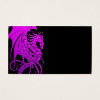 Flying Tribal Dragon - purple on black Business Card