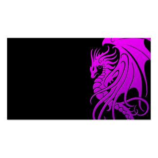 Flying Tribal Dragon - purple on black Business Card Templates