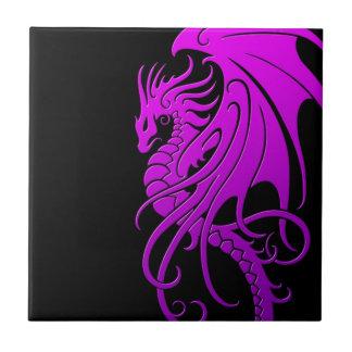 Flying Tribal Dragon - purple on black Tile