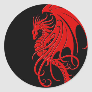 Flying Tribal Dragon - red on black Classic Round Sticker