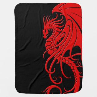 Flying Tribal Dragon - Red on black Pramblanket