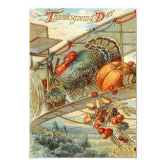 Flying Turkey Airplane Pumpkin Apple Pear Corn 13 Cm X 18 Cm Invitation Card