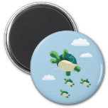 Flying turtle 6 cm round magnet