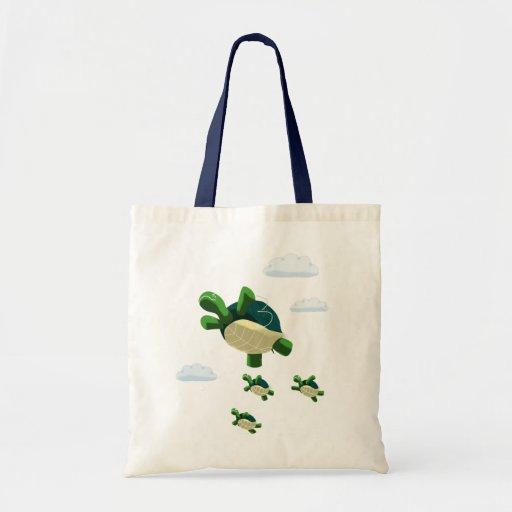 Flying turtle budget tote bag