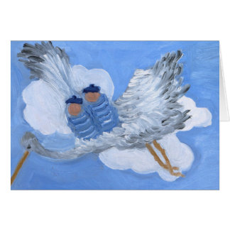 Flying Twin Boys Riding a Stork:Susan Payne-Trutna Note Card
