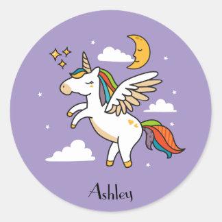 Flying Unicorn Classic Round Sticker