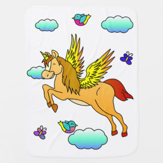 Flying unicorn flying through the air baby blanket