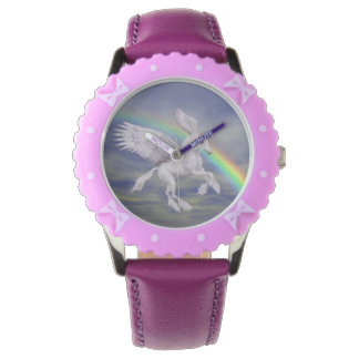 Flying Unicorn Horse Rainbow Animal Art Watches