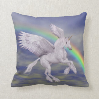Flying Unicorn Rainbow Fantasy American MoJo Pillo Throw Pillow