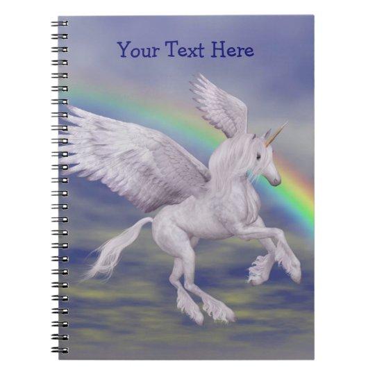 Flying Unicorn Rainbow Personalised Notebook