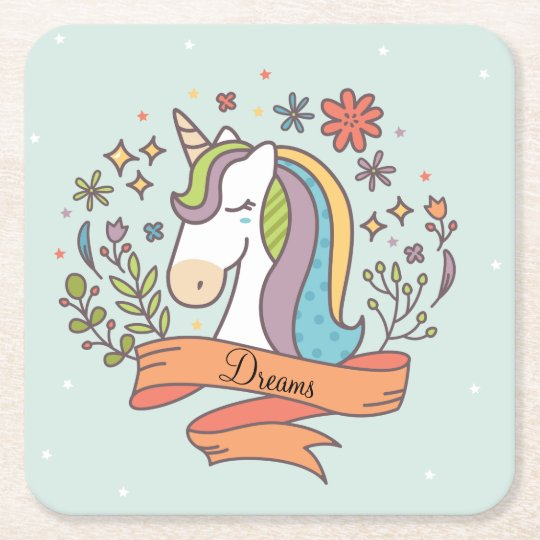 Flying Unicorn Square Paper Coaster