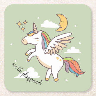 Flying Unicorn Square Paper Coaster