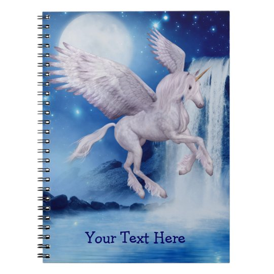 Flying Unicorn Waterfall Personalised Notebook