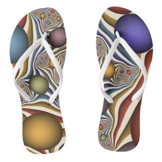 Flying Up, Colorful, Modern, Abstract Fractal Art Flip Flops