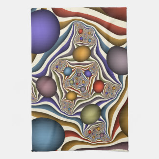 Flying Up, Colorful, Modern, Abstract Fractal Art Tea Towel