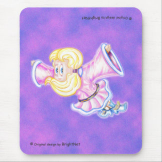 Flying Upside-down  pink girl Mouse Pad