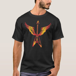 Flying V Guitar (Flames) T-Shirt