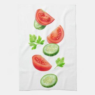 Flying vegetables tea towel