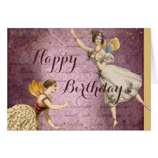 Flying Vintage Fairies on Purple and Gold Card