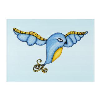 Flying Whimsical Blue Yellow Bird Scroll Tail Acrylic Wall Art