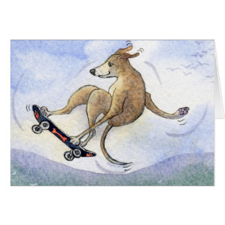 Flying whippet dog greeting card