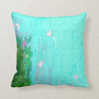 Flying White Peace Dove in Aqua Blue Sky Cushion