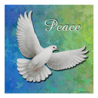 Flying White Peace Dove Print