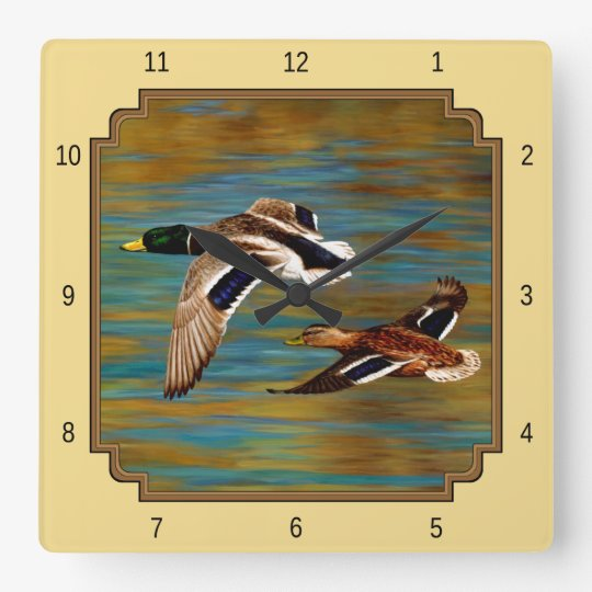 Flying Wild Ducks Yellow Square Wall Clock