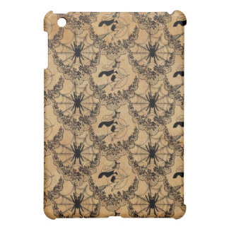 Flying Witch and Spider Web black on old paper iPad Mini Case