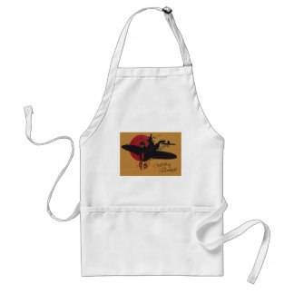 Flying Witch Black Cat Airplane Full Moon Standard Apron