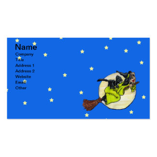 Flying Witch Cat Moon Stars Pack Of Standard Business Cards