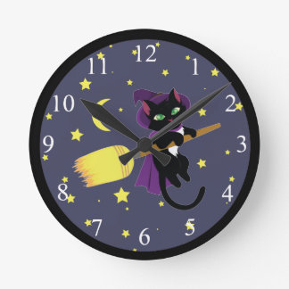 Flying Witch Cat Round Clock