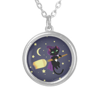 Flying Witch Cat Round Pendant Necklace