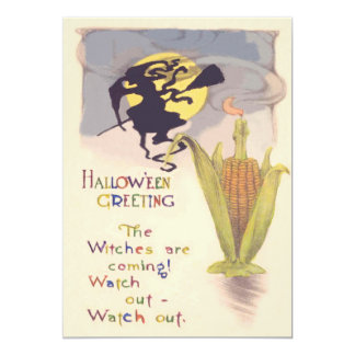 Flying Witch Full Moon Corn Cob Candle 13 Cm X 18 Cm Invitation Card