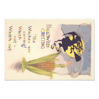 Flying Witch Full Moon Corn Cob Candle Art Photo