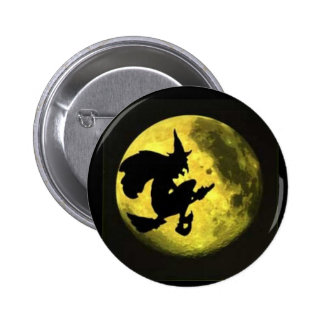 Flying Witch Halloween Button