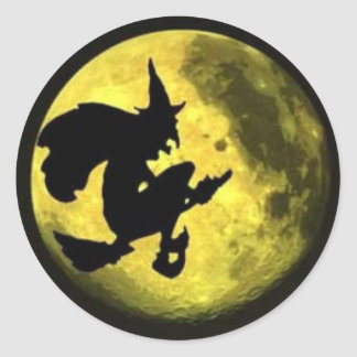 Flying Witch Halloween Sticker
