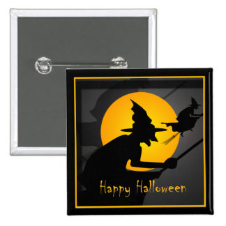 Flying Witch Happy Halloween 15 Cm Square Badge
