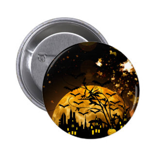 Flying Witch Harvest Moon Bats Halloween Gifts Buttons