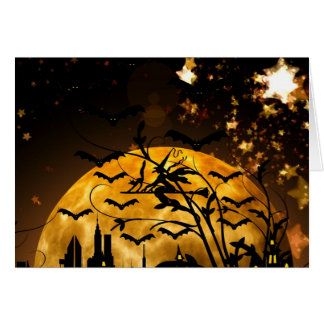 Flying Witch Harvest Moon Bats Halloween Gifts Note Card