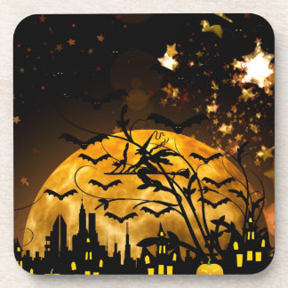 Flying Witch Harvest Moon Bats Halloween Gifts Beverage Coaster