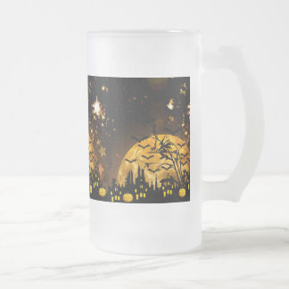 Flying Witch Harvest Moon Bats Halloween Gifts Frosted Glass Mug