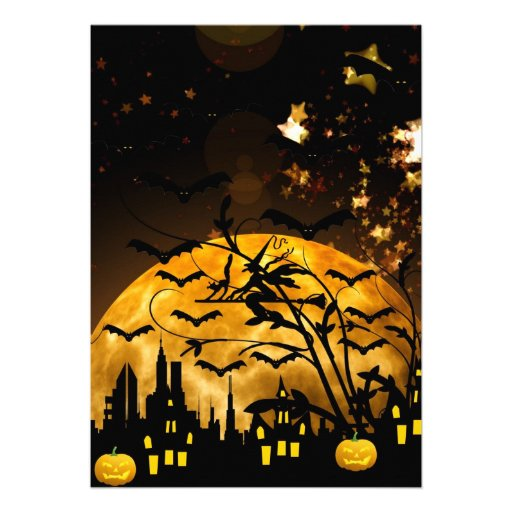 Flying Witch Harvest Moon Bats Halloween Gifts Custom Invitation