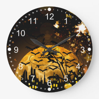 Flying Witch Harvest Moon Bats Halloween Gifts Large Clock